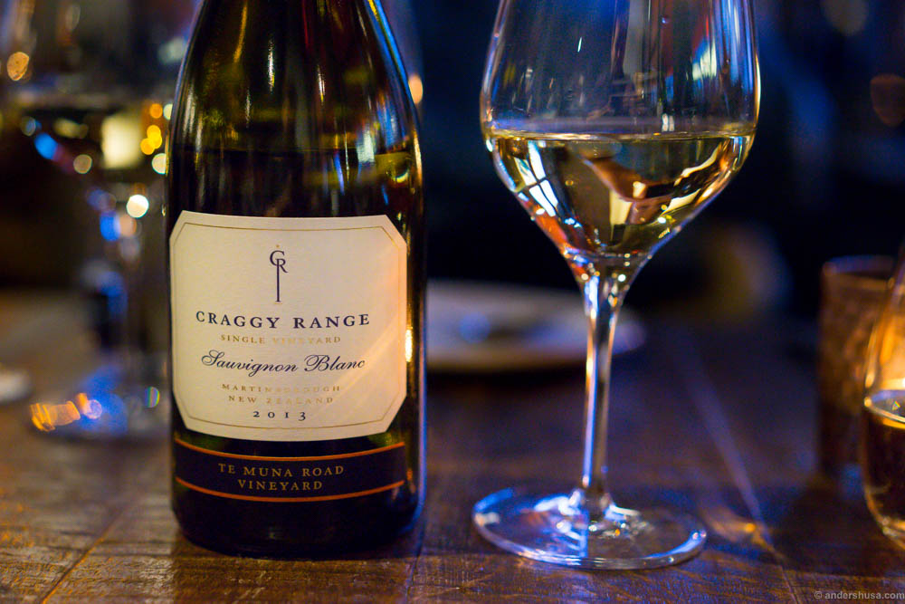 Craggy Range, Te Muna, Sauvignon Blanc 2013. Sweet candy aroma, and a soft pineapple taste. Matched the deep-fried shrimps.