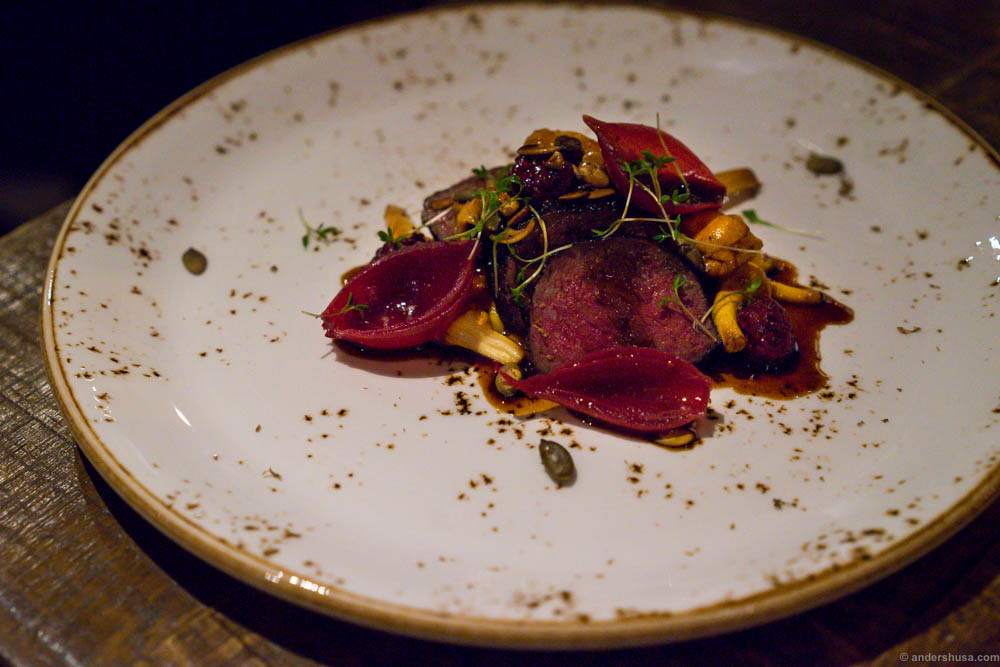 Reno, mora y aji amarillo. Beef of reindeer, smoked reindeer heart, mora berries, aji amarillo, pumpkin cream and chanterelles. Another great dish! Nice balance between sweetness and acidity
