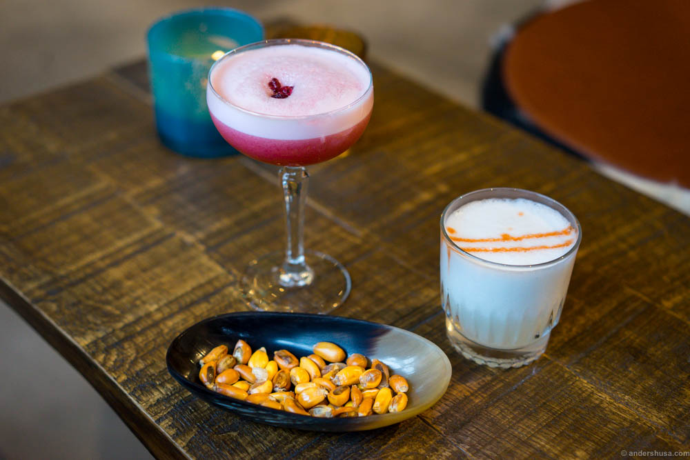 We started with cocktails & cancha. Cancha is a Peruvian snack made on deep-fried corn kernels. We had the pisco sour to the right. To the left is La Muchaca; made with cachaça and mora berries.