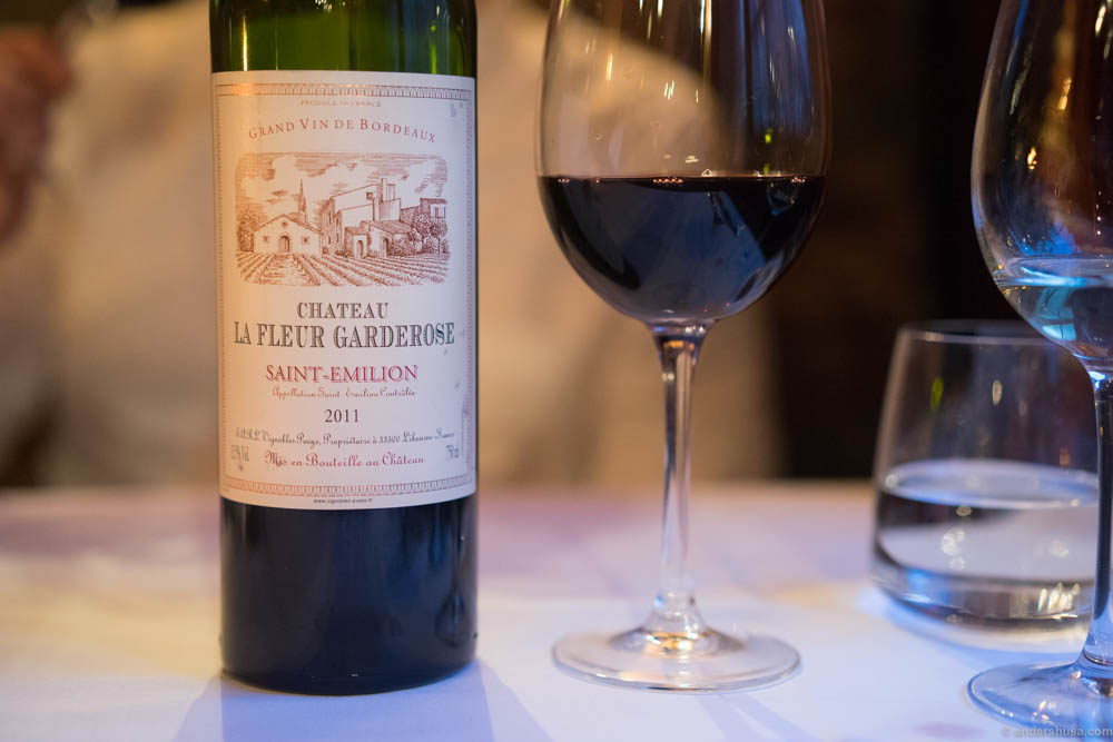 Chateau La Fleur Garderose, Saint-Emilion 2011. A typical heavy Bordeaux with an oaky aroma and taste of blackcurrants