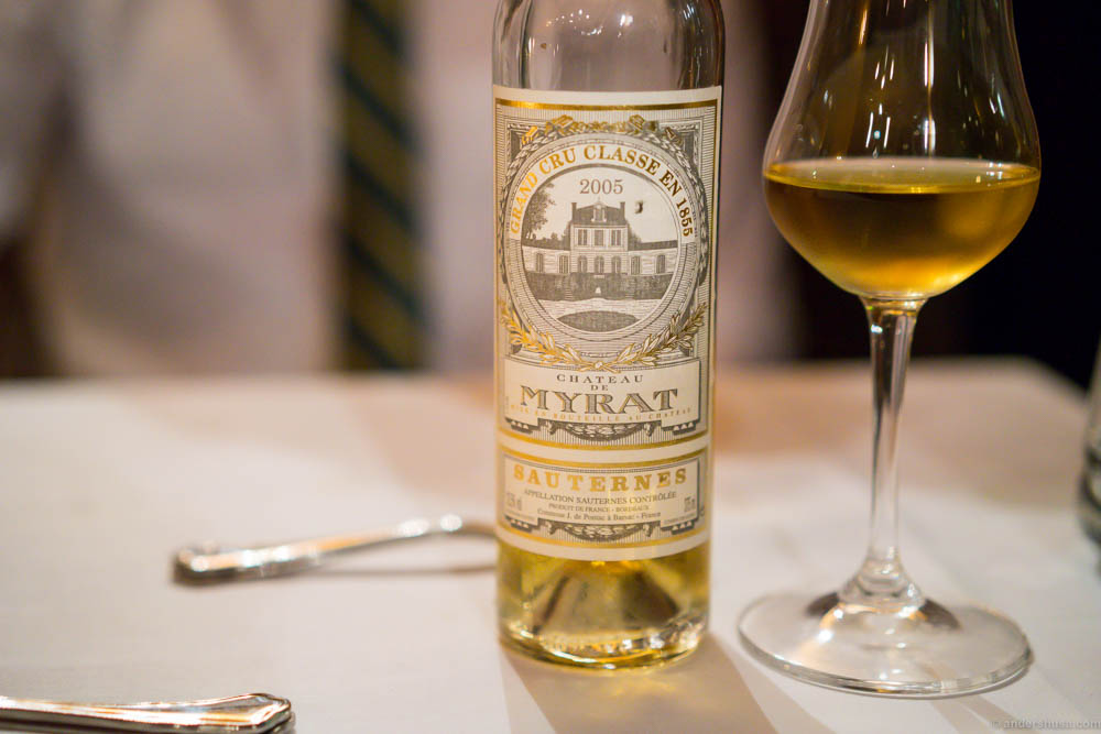 2005 Chateau de Myrat, Sauternes. Sweet, rich, yet easy to drink with flavors of lemon, honey, vanilla and tropical fruits