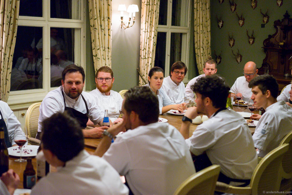 The chefs debrief and finally get to eat something