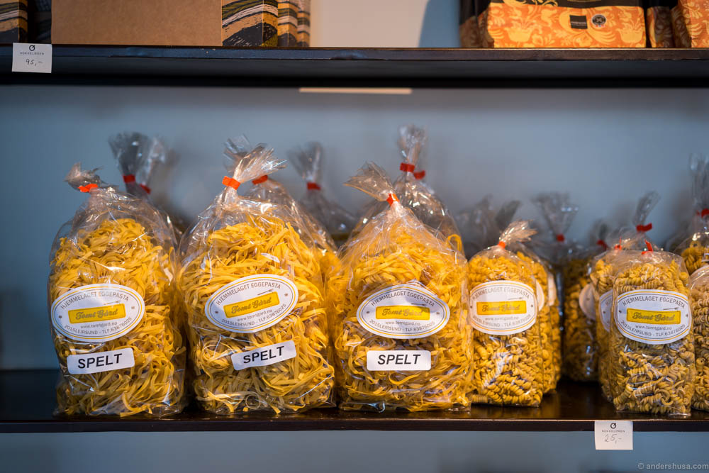 A few selected high quality produce are sold as well, like this Norwegian made pasta with 25 % egg yolk