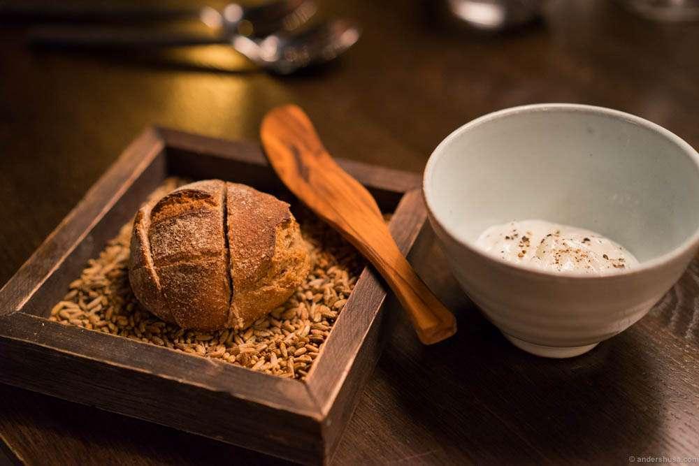 Kontrast's sourdough bread, served with lardo in stead of butter. Yum!