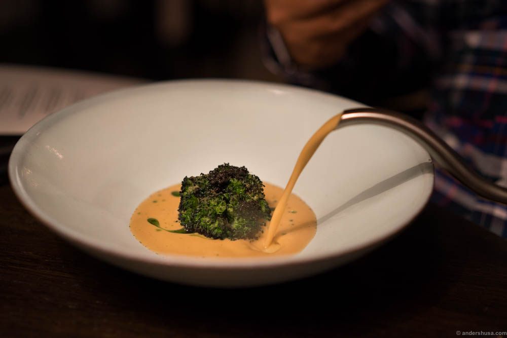 Soup of brown crab with broccoli, crab meat and pickled dill oil. By Mats & Ebbe Vollmer of restaurant Vollmers in Malmö