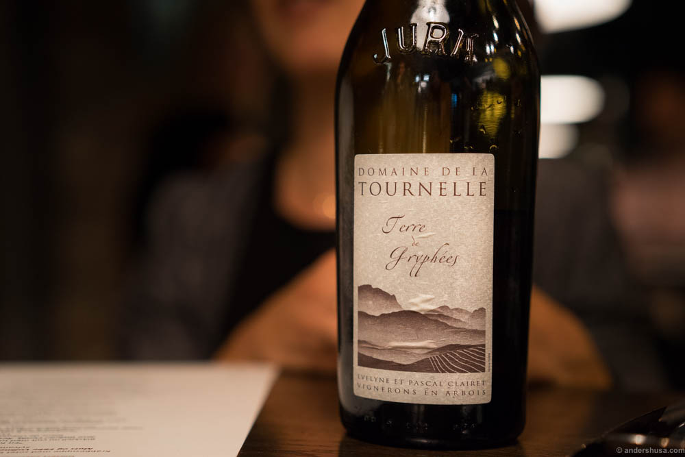 Domaine de la Tournelle, Terre de Gryphées. A lovely Jura, with just the right sweetness to match the dish.