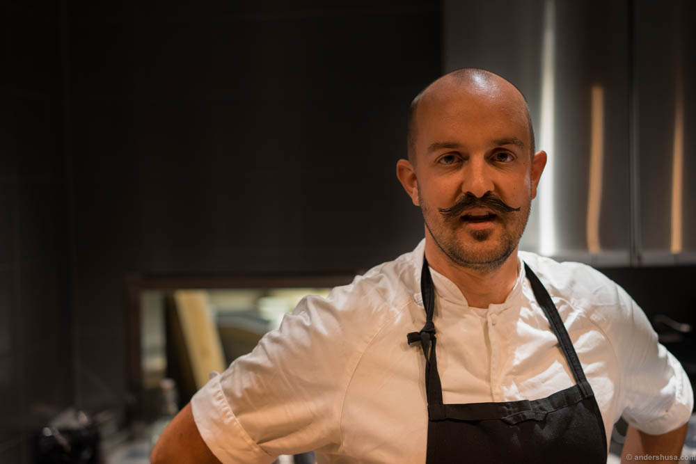 Måns Backlund of the new restaurant Bekk in Gothenburg. What a man! What a mustache! What a meal!
