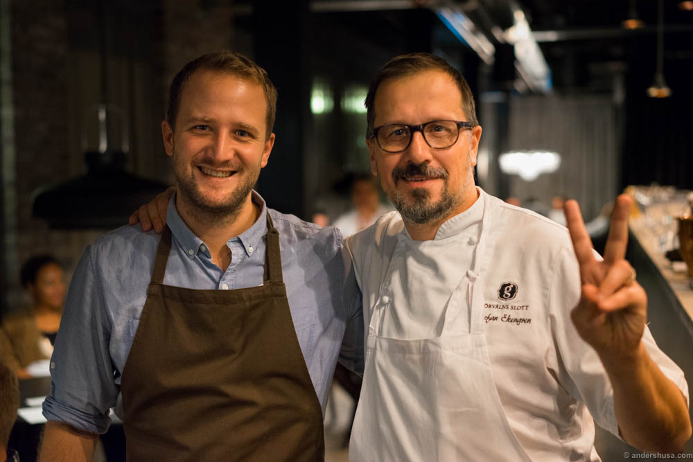Jacob Holmström of one Michelin star restaurant Gastrologik and Stefan Ekengren of restaurant Görvälns slott in Stockholm