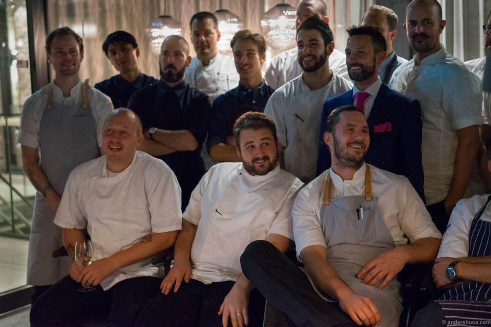 Post-dinner photoshoot with the full chef lineup.