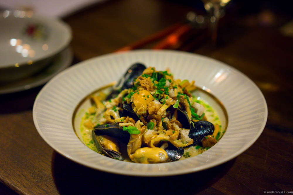 Mussels with chanterelles and spring onions, so simple and incredibly tasty