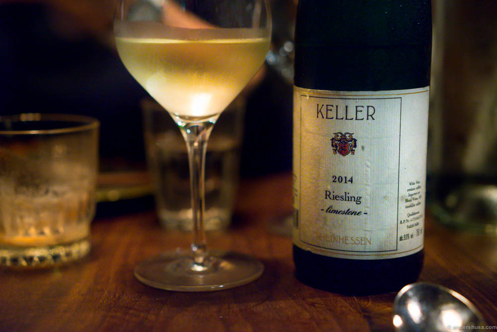 "Keller Riesling ""Limestone"" 2014. Intense tropical fruit flavors, high acidity and nice residual sweetness that I love"
