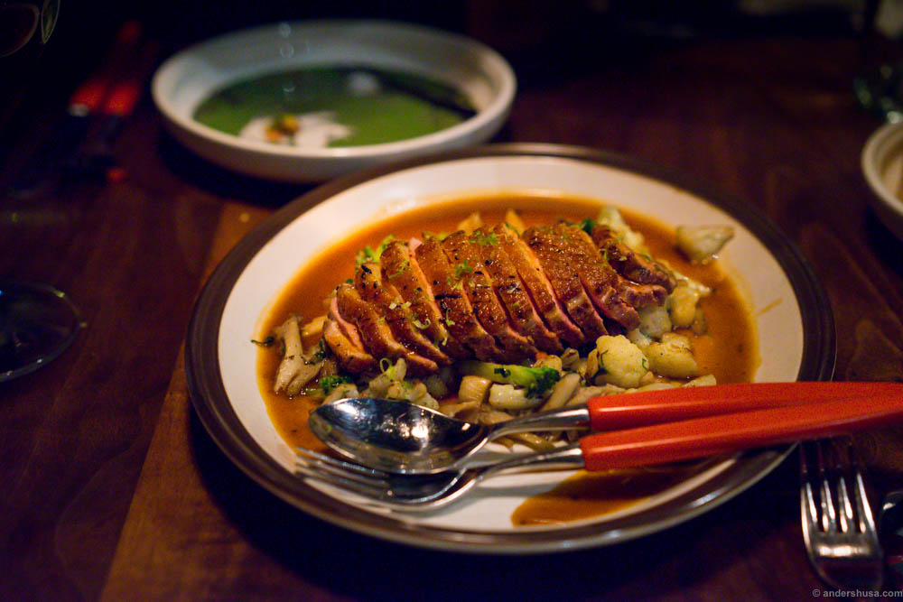 Breast of duck with cauliflower and broccoli in a schezuan pepper sauce
