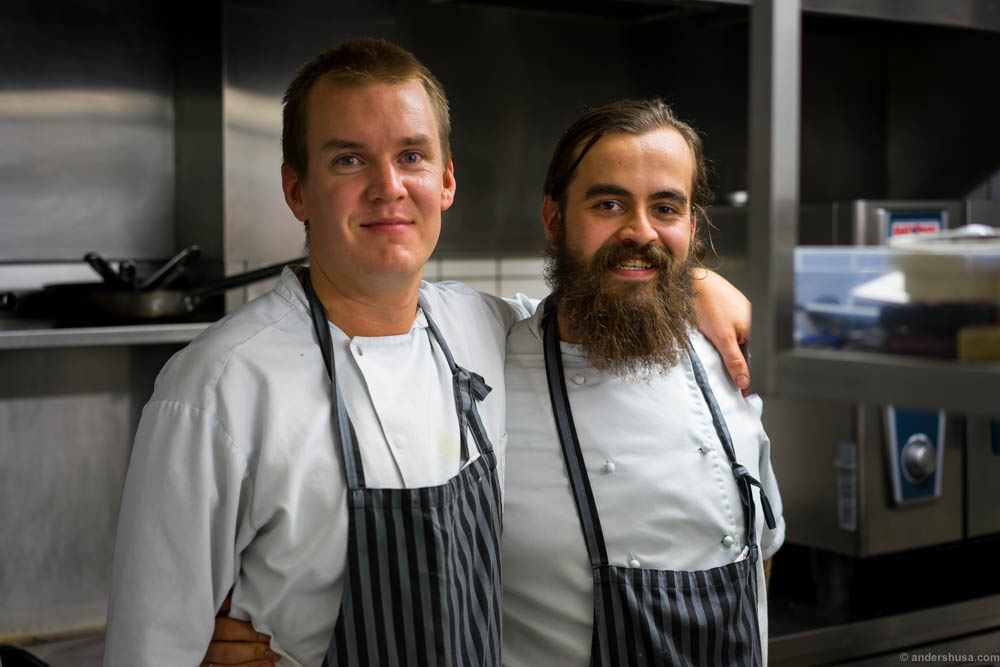 Atli to the right is the head chef. His trusted partner in crime Lars to the right