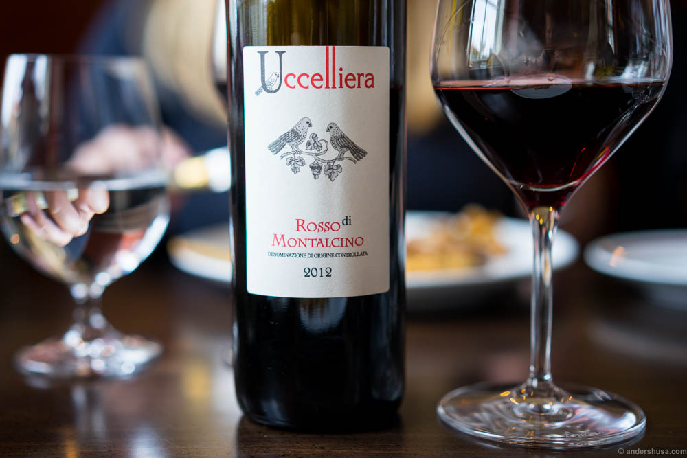 Uccelliera, Rosso di Montalcino, 2012. A really nice red wine, easy to drink, yet full of flavor. Red berries, spices and oak