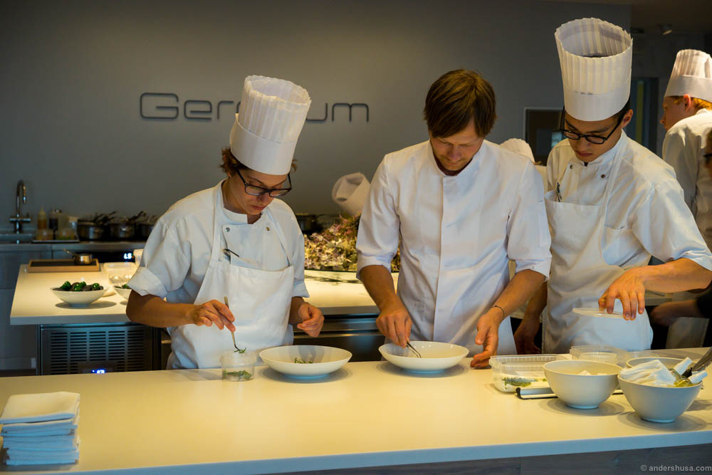 We could watch the chefs work. Head chef Rasmus Kofoed in the middle. Truly inspirational to observe