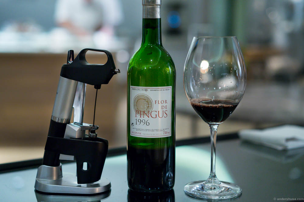 1996, Flor de Pingus, Peter Sisseck, Spain. Opened with a Coravin, which is a needle opener that does not let oxygen in to spoil the wine.