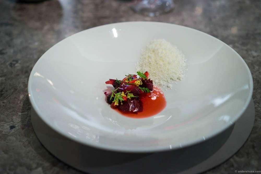 Flora of grilled raspberries, hip rose & elderflower with frozen sheep yoghurt