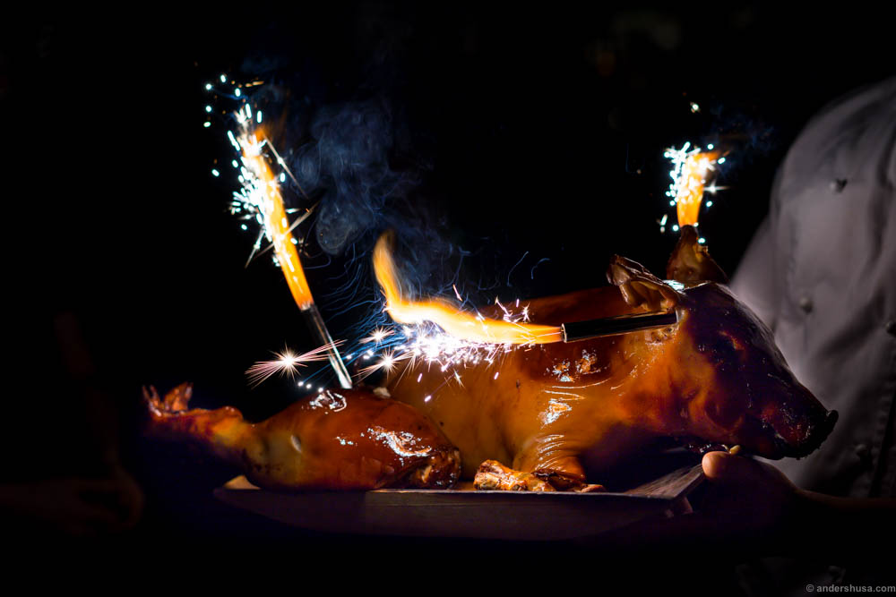 Fire sparklers in the butt and the feast can start