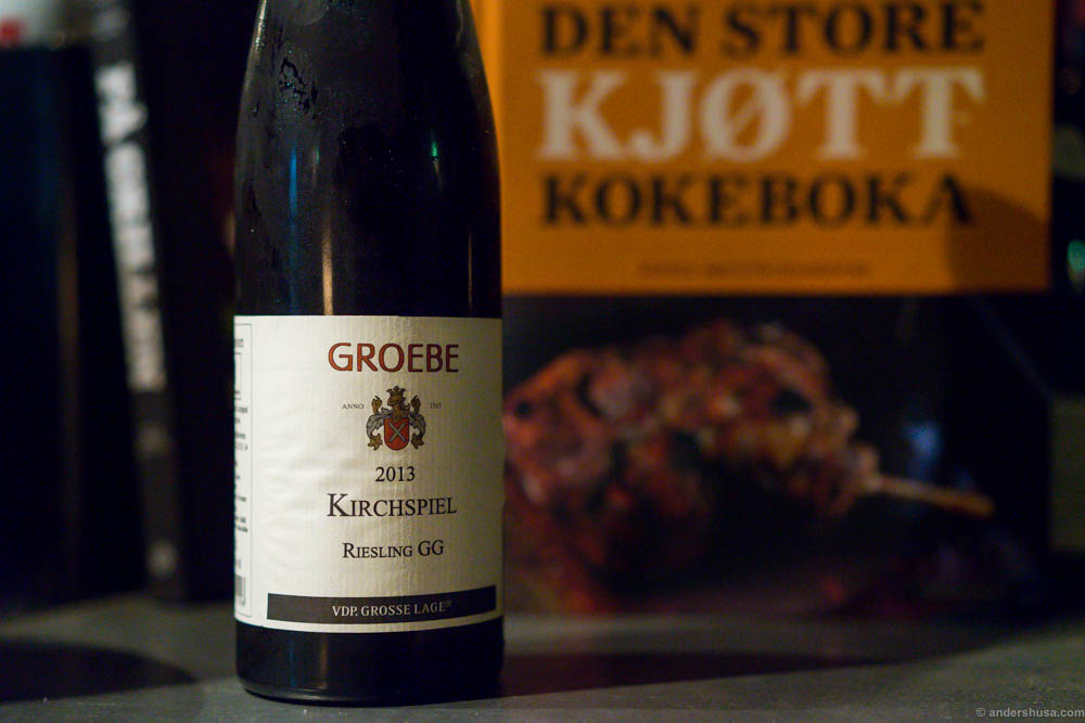 2013 Groebe Westhofen, Kirchspiel, Riesling GG. A fresh, fruity Riesling with a nice acidity structure. Just the way I like it. Perfect match to the honey and vanilla glazed suckling pig