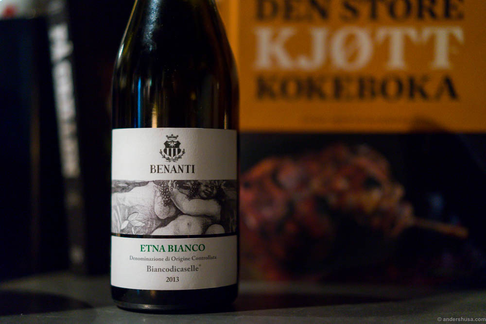 2013 Benanti, Etna Bianco, Biancodicaselle. An intense, rich and fruity white wine. Just dry and acidic enough to match with the bouillabaisse.