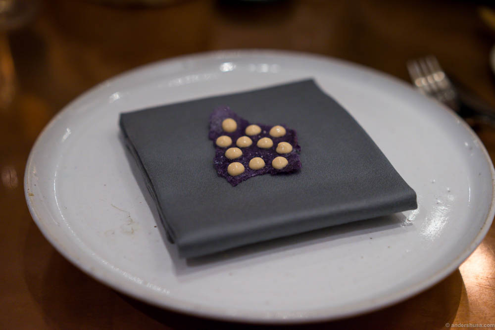 Chips of purple potatoes and a peanut cream