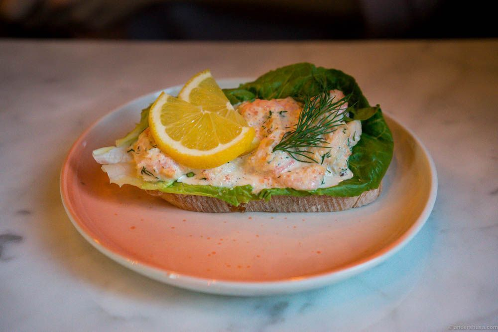"Open sandwich with shrimp ""Skagen"" salad"