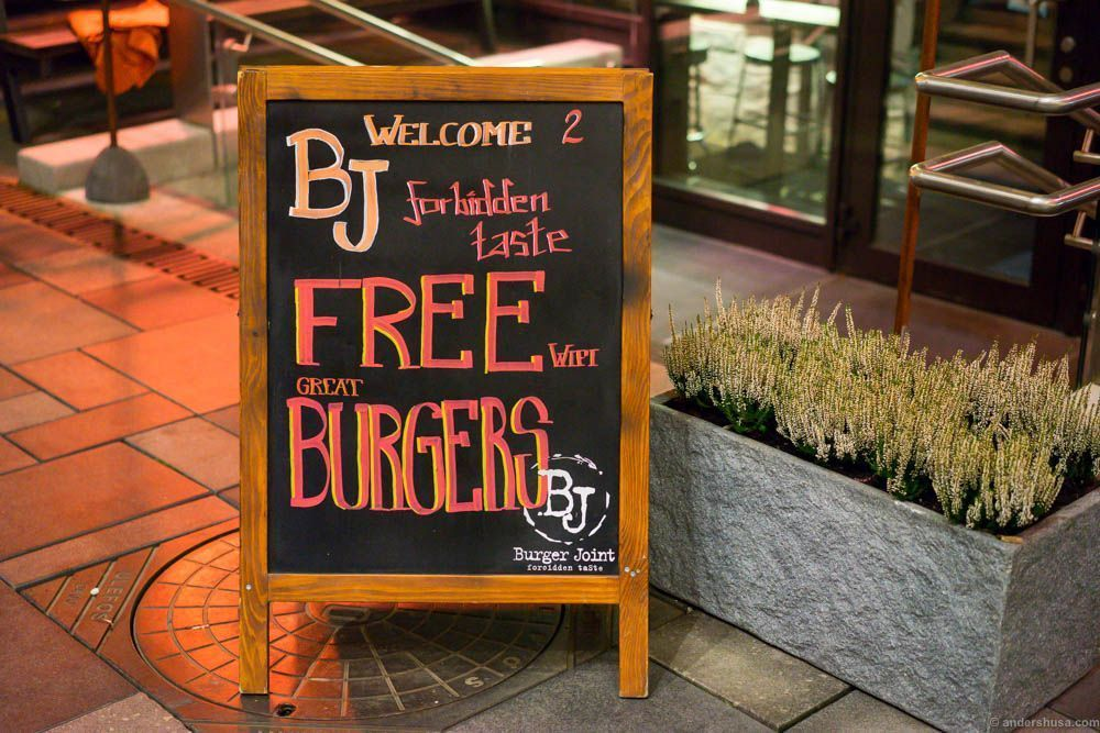 Free Burgers? Free BJ? I am lost.