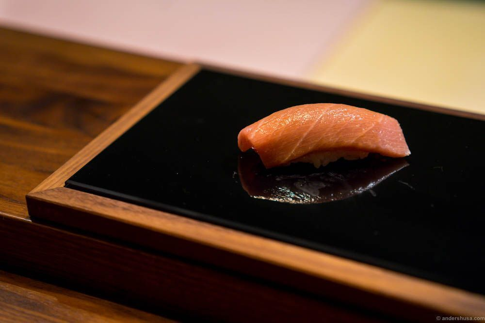 "Tuna ""toro"" with soy sauce. Toro is the fatty part of the tuna, and considered the most valued ingredient in sushi."