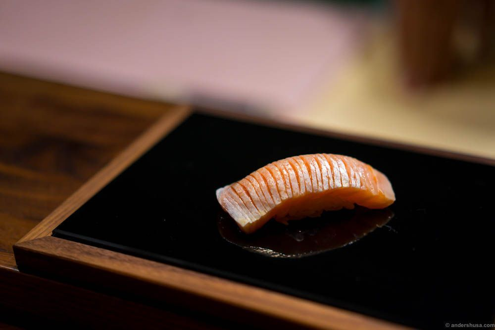 "Salmon ""toro"" with soy sauce. The fatty belly part of the fish."