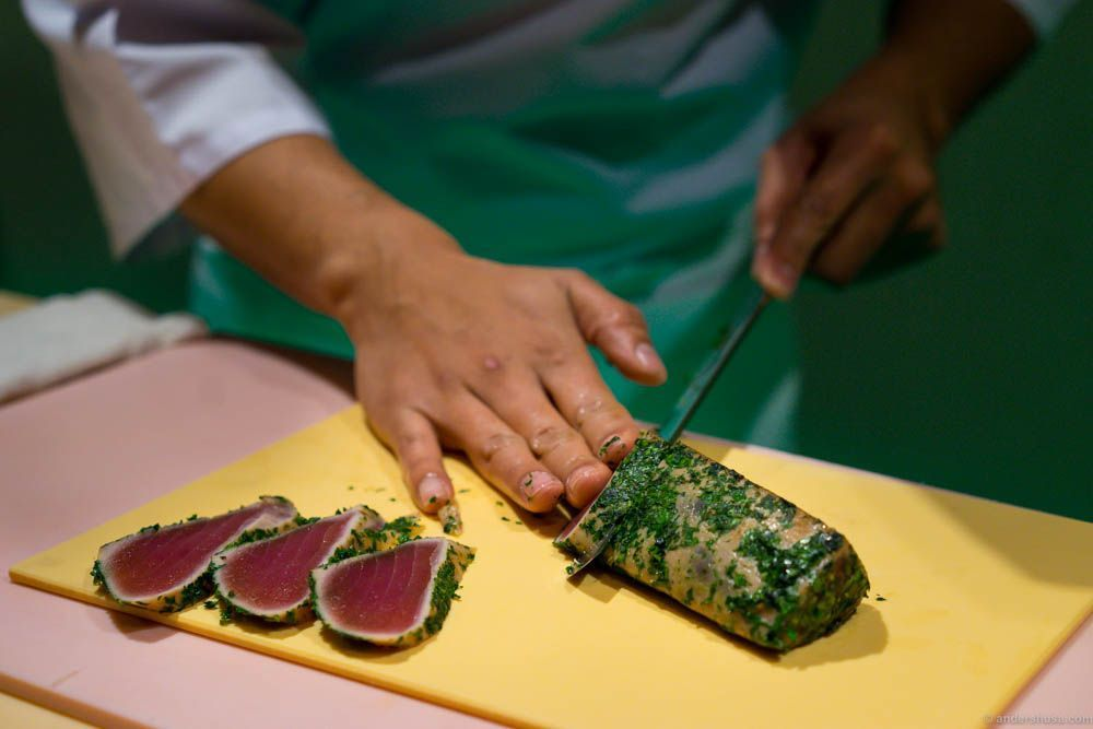 Tataki is Japanese and means that the fish is just slightly seared around the edges, leaving the insider still raw