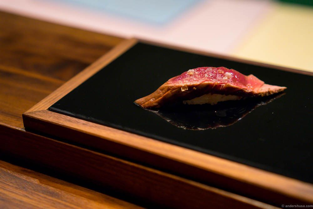 Lightly smoked reindeer, grilled on Japanese grill, served with seasalt