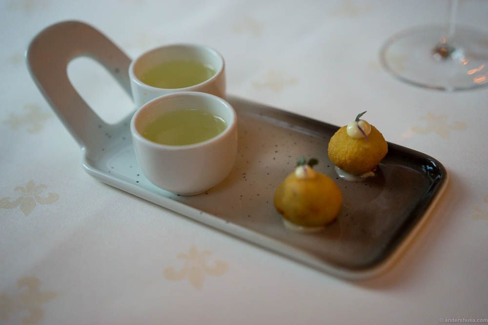 Tomato consommé and clipfish bolinhos.