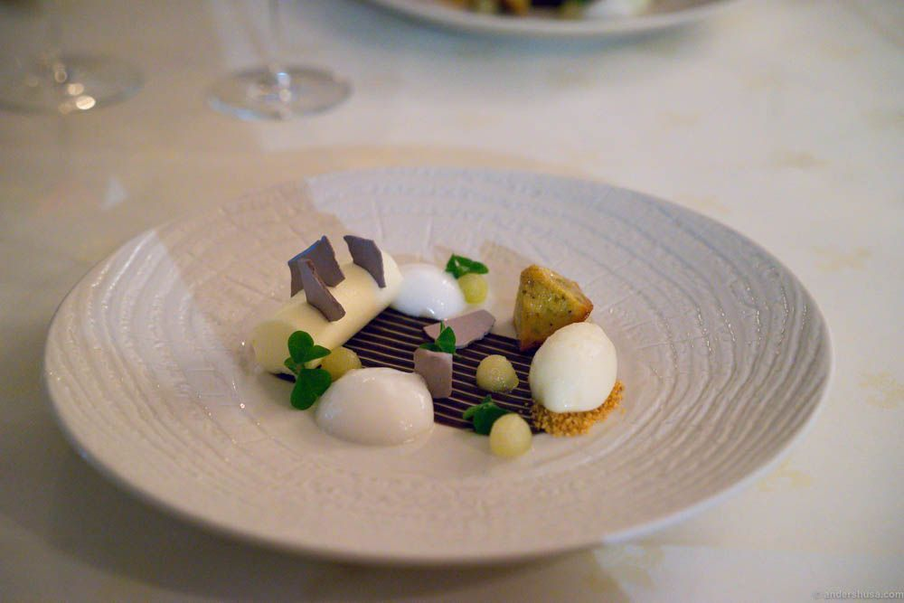 Pear sorbet, bits of pear, yogurt sorbet, meringue, almond, and financier
