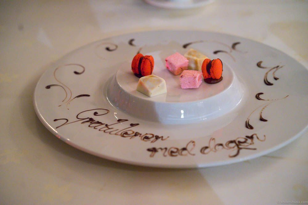 Petits fours and happy birthday wishes!