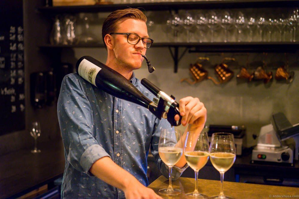Magnus demonstrates how you pour Coravin with style (and a liquorice pipe)