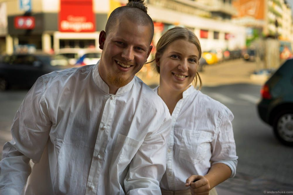 Mads Battefeld of Henne Kirkeby Kro and his girlfriend Anna
