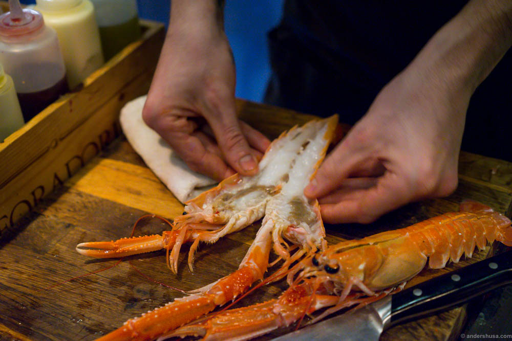 A whole langoustine for 100 NOK!