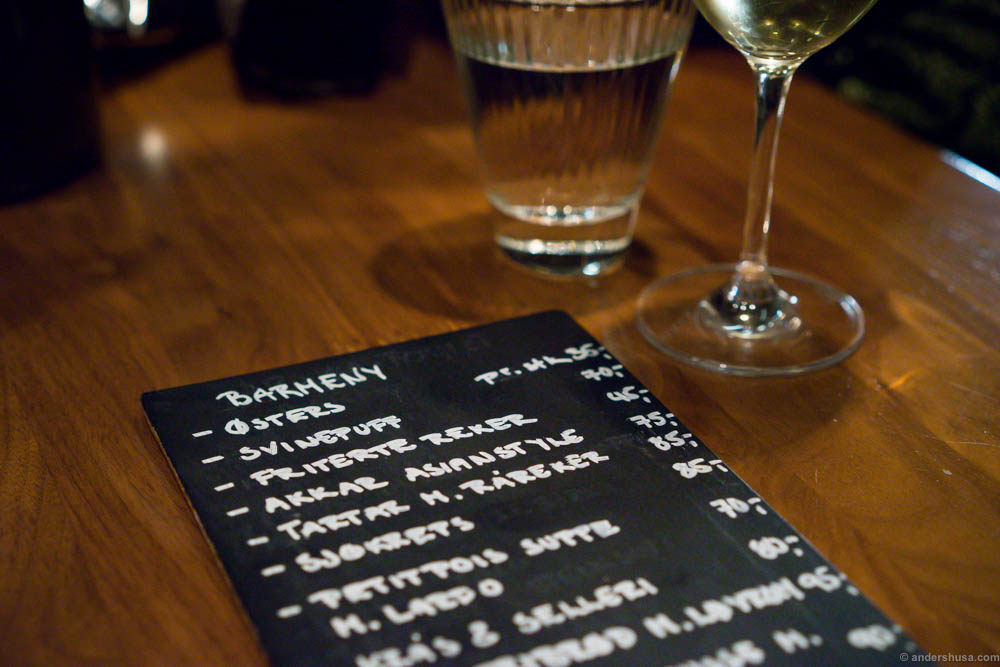The bar menu