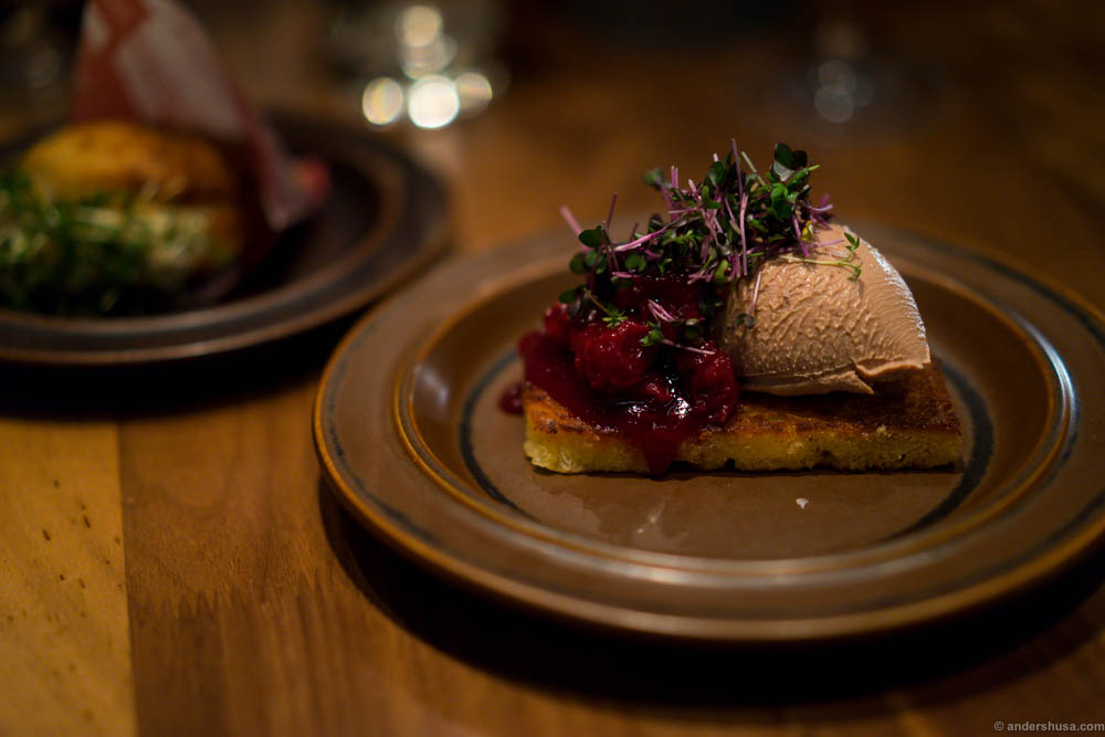 Duck liver mousse on butter fried brioche with cranberry jam and cress. I could eat five of these...