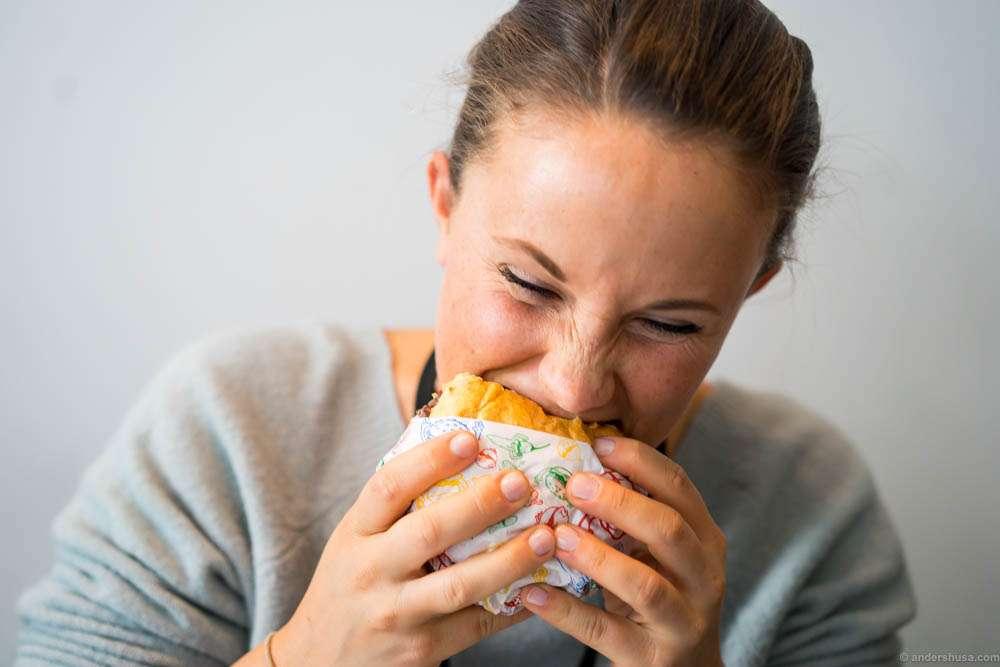 Mette knows the burger bite...