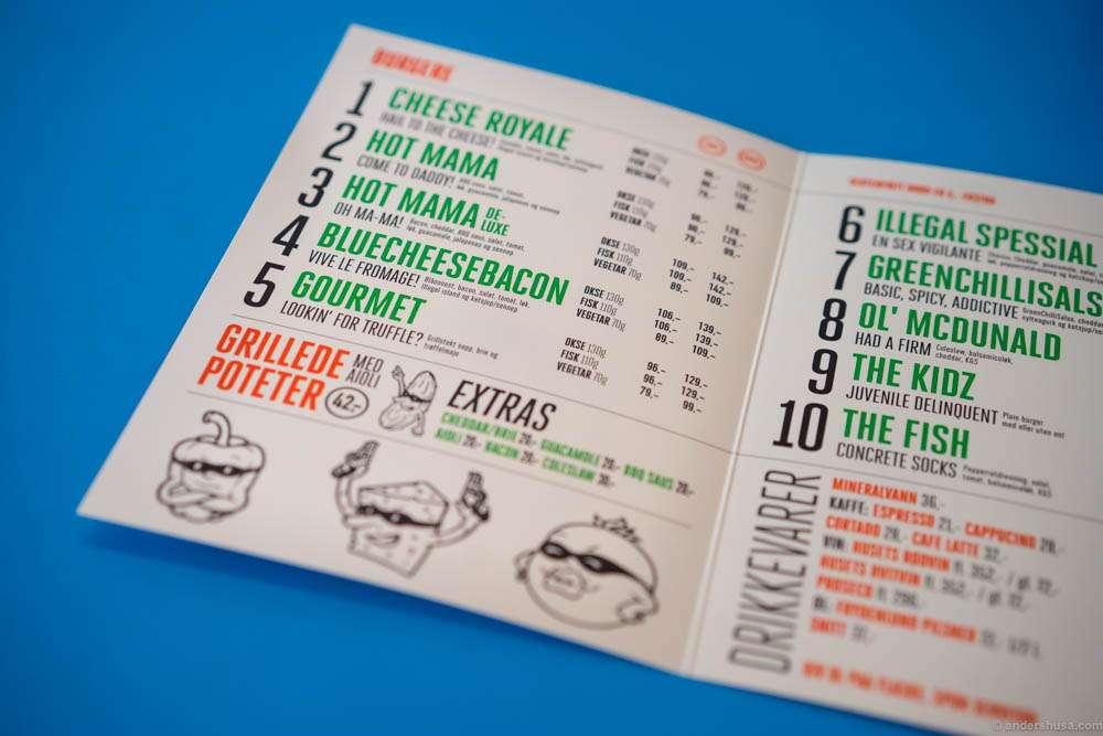 The menu at Illegal Burger