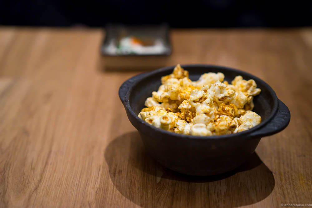 Kimchi popcorn. I would have liked these with more kick from the kimchi, and if possible warmer.