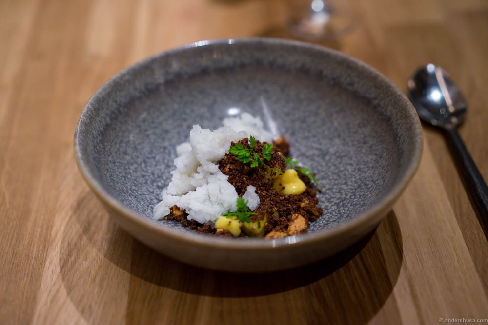 "White soy curd with yuzu granita, exotic fruits and chocolate ""soil"". A great dessert and quite spicy! I only wished it had more of the creamy curd."