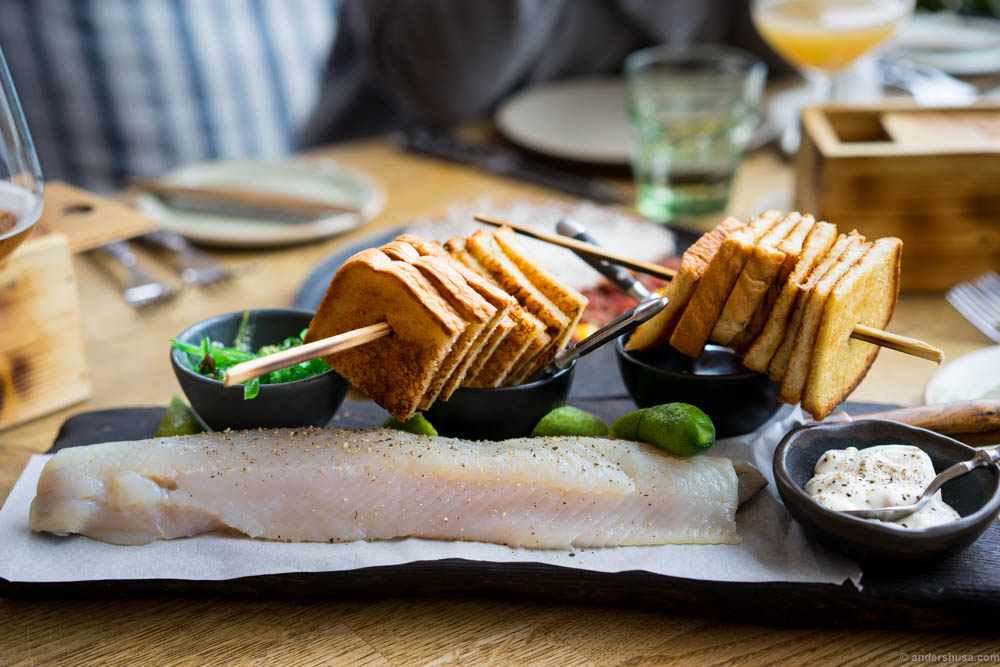 The salty whitefish was perfect for sharing. We cut the fish ourselves with a sharp knife. The consistency was as you'd expect from raw fish. Very mild flavors and tasty on the toast with whitefish roe in sour cream, wakame and onions.