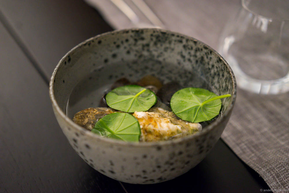 Fresh cheese, smoked eel and pickled ramson capers wrapped in nasturtium. Floating in the water we were told we had to eat it before the water got through. Not before a picture or five was taken, though...