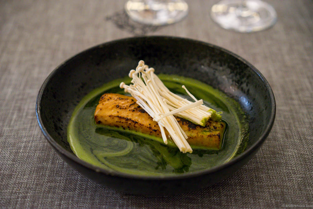 Sea bass with enoki, ramson dashi and miso. This looked great, but tasted too sweet.