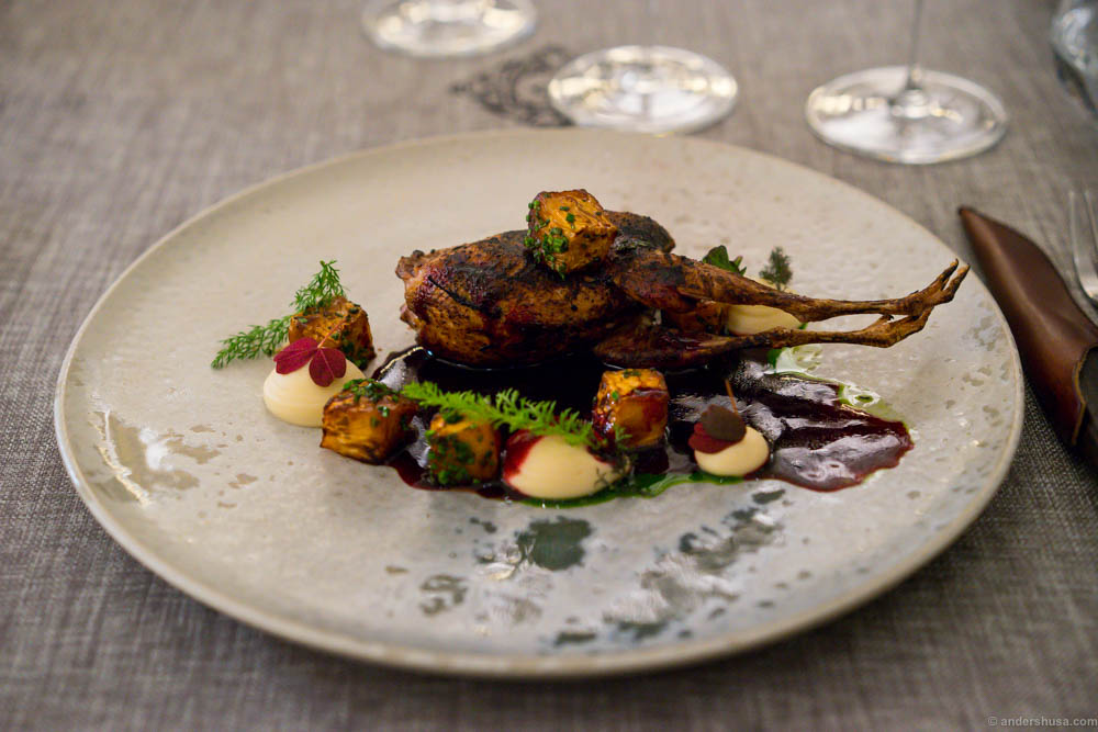 Quail with celery root, broccoli florets and smoked beetroot sauce
