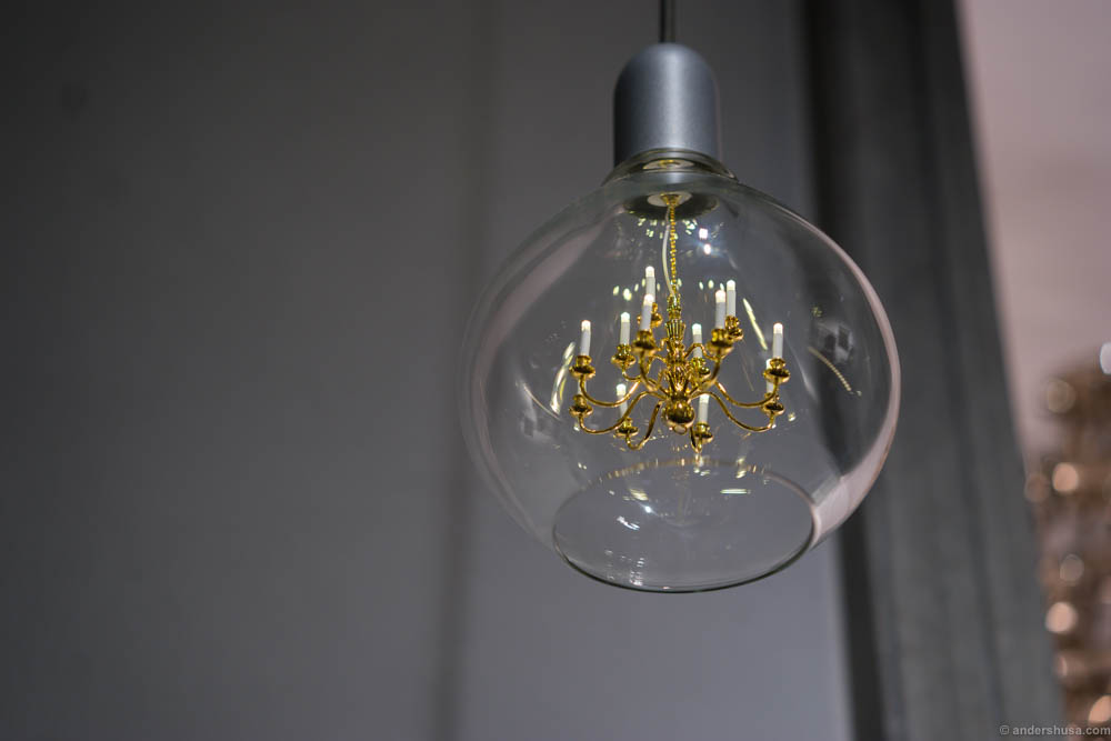 A chandelier within a lamp