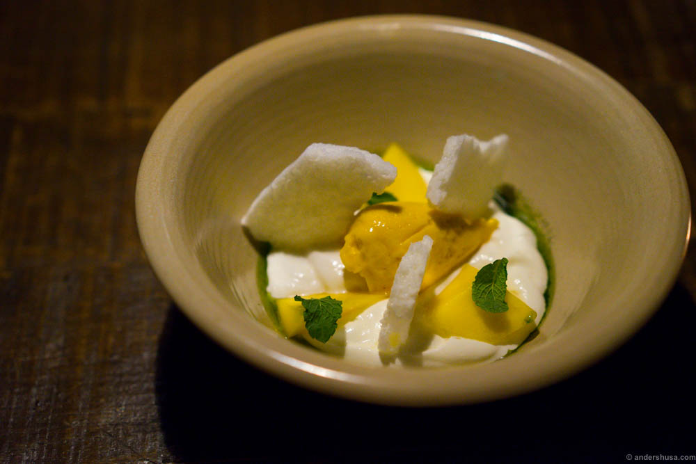 Mango, menta y yogur. Mango sorbet, yogurt spuma, salted mango, yogurt meringue, mint and mint oil.