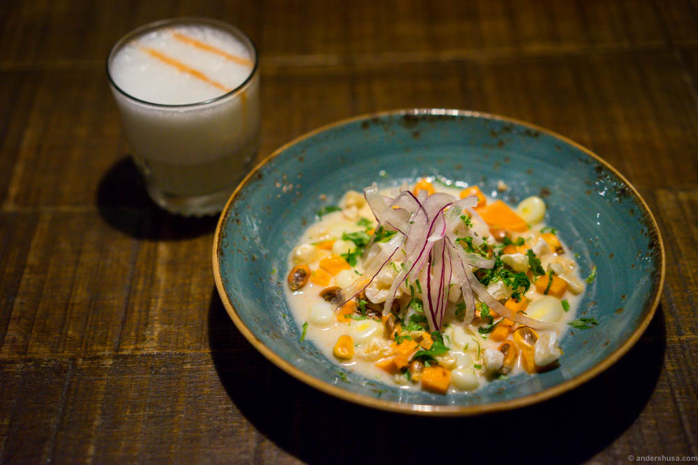 Pisco Sour & Ceviche Miraflores! Roughhead grenadier, red onion, leche de tigre, choclo, puffed pork rind, sweet potato and coriander.